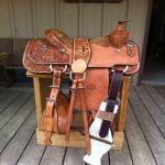 DW Barnes Roping 3/4 Tooled Roping Saddle